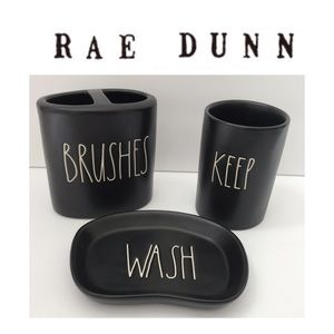 🆕 🖤 New Rae Dunn Black Collection 3pc Set